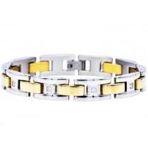 Stainless Steel Men's Gold Bracelet With Cubic Zirconia