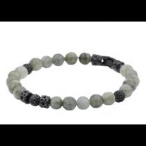 Men's Genuine Labradorite Stainless Steel Beaded Bracelet