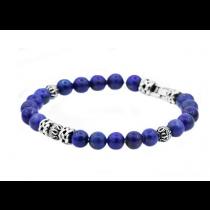 Men's Genuine Lapis Lazuli Stainless Steel Beaded Bracelet
