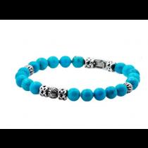 Men's Genuine Turquoise Stainless Steel Beaded Bracelet
