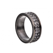 Men's Black Plated Stainless Steel Band With Black Cubic Zirconia