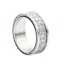 Men's Stainless Steel Band With Cubic Zirconia