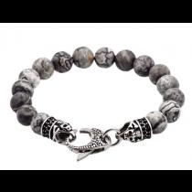 Men's Genuine Grey Jasper Stainless Steel Beaded Bracelet With Black Cubic Zirconia