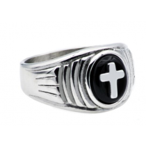 Men's Onyx And Stainless Steel Cross Ring