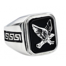 Men's Onyx And Stainless Steel Eagle Ring