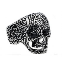 Men's Black Plated Stainless Steel Skull Ring With Black Cubic Zirconia