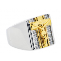 Men's Gold Plated Stainless Steel Cross Ring With Cubic Zirconia