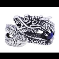 Men's Genuine Blue Tiger Eye Stainless Steel Dragon Ring