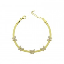 Sterling Silver Yellow Gold Plated Butterfly Charm Herringbone Bracelet With White Cubic Zirconia