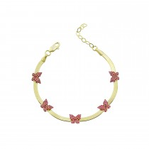 Sterling Silver Yellow Gold Plated Butterfly Charm Herringbone Bracelet With Ruby Cubic Zirconia