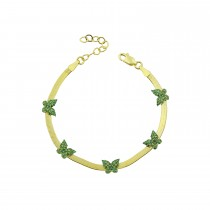 Sterling Silver Yellow Gold Plated Butterfly Charm Herringbone Bracelet With Emerald Green Cubic Zirconia
