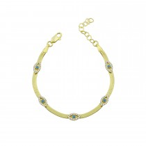 Sterling Silver Yellow Gold Plated Evil Eye Charm Herringbone Bracelet With Turquoise & White Cubic Zirconia