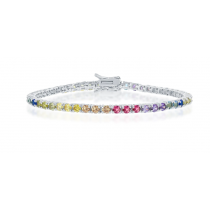 925 Sterling Silver 3mm Round Cut Rainbow CZ Tennis Bracelet 7.5""