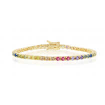925 Sterling Silver Yellow Gold Plated 3mm Round Cut Rainbow CZ Tennis Bracelet 7.5""