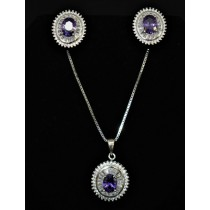 925 Sterling Silver Set With Amethyst and Cubic Zirconia