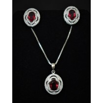 925 Sterling Silver Set With Ruby and Cubic Zirconia