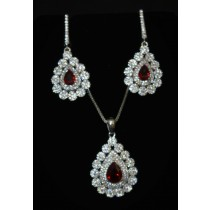 925 Sterling Silver Set With Red Topaz and Cubic Zirconia