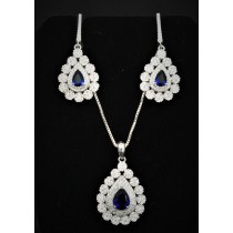 925 Sterling Silver Set With Sapphire and Cubic Zirconia