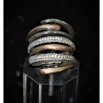 925 Sterling Silver Fashion Ring Silver and Rose gold Plated with Cubic Zirconia