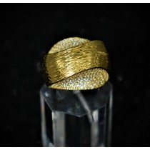 925 Sterling Silver Fashion Ring Yellow Gold Plated with Cubic Zirconia