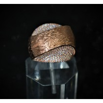 925 Sterling Silver Fashion Ring Rose Gold Plated with Cubic Zirconia