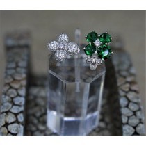 925 Sterling Silver Cubic Zirconia and Emerald Fashion Ring