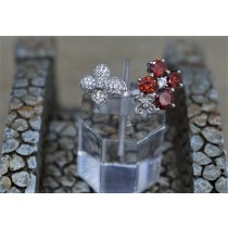 925 Sterling Silver Cubic Zirconia and Red Topaz Fashion Ring