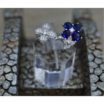 925 Sterling Silver Cubic Zirconia and Sapphire Fashion Ring