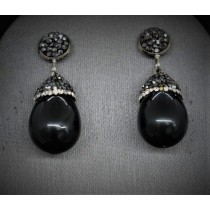 Fashion Earrings With Black Hematite Druzy Onyx and Cubic Zirconia