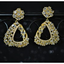925 Sterling Silver Chandelier Earrings Yellow Gold Plated With White Cubic Zirconia