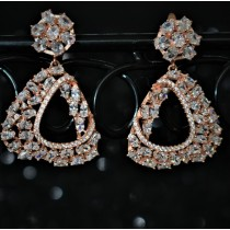 925 Sterling Silver Chandelier Earrings Rose Gold Plated With White Cubic Zirconia