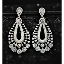 925 Sterling Silver Chandelier Earrings With White Cubic Zirconia