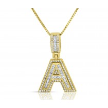 """Sterling Silver Mini Baguette Initial """" A """" Necklace"""