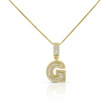 """Sterling Silver Mini Baguette Initial """" G """" Necklace"""