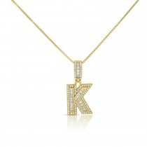 """Sterling Silver Mini Baguette Initial """" K """" Necklace"""