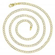 """14K Gold Two Tone 3MM Cuban 080 Gauge 18"""" Chain"""