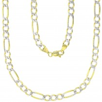 """14K Gold Two Tone 5MM 22"""" Figaro 120 Gauge Chain"""