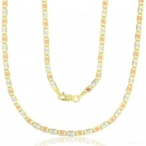 """14KT Gold 24"""" Tricolor Valentino Star DC Chain 060 Gauge 2.75MM"""