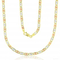 """14KT Gold 18"""" Tricolor Valentino Star DC Chain 080 Gauge 3.55MM"""