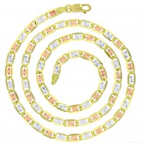 """14KT Gold 24"""" Tricolor Valentino Star DC Chain 100 Gauge 4.45MM"""