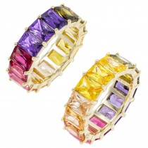 925 Sterling Silver Yellow Gold Plated Baguette Cut Rainbow Multi Color Cubic Zirconia Eternity Band