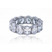 925 Sterling Silver Oval Cubic Zirconia Eternity Band