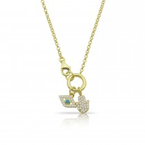 Sterling Silver Yellow Gold Plated Evil Eye & Hamsa Charm Necklace With Cubic Zirconia
