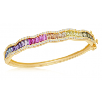 925 Sterling Silver Yellow Gold Plated Baguette Rainbow CZ Bangle