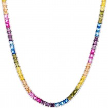 "925 Sterling Silver 16"" Long Square Cut Multicolor Rainbow Cubic Zirconia Tennis Necklace"