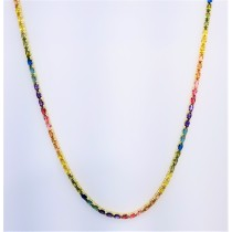"925 Sterling Silver Yellow Gold Plated 16"" Long Oval Cut Multicolor Rainbow Cubic Zirconia Tennis Necklace"
