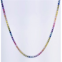 "925 Sterling Silver 16"" Long Round Cut Multicolor Rainbow Cubic Zirconia Tennis Necklace"