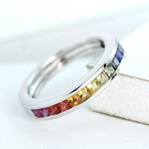 925 Sterling Silver Rainbow Multi Color Cubic Zirconia Eternity Band