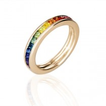 925 Sterling Silver Yellow Gold Plated Rainbow Multi Color Cubic Zirconia Eternity Band