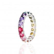 925 Sterling Silver Round Cut Rainbow Multi Color Cubic Zirconia Eternity Band